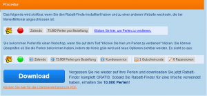 Screenshot Moneymillionär Rabattfinder