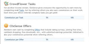 Clixsense Refvergütung Tasks und Offers