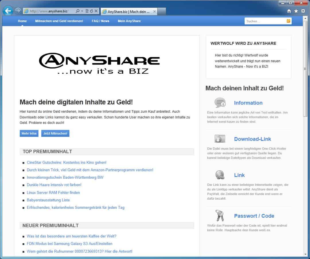 Share online biz seiten