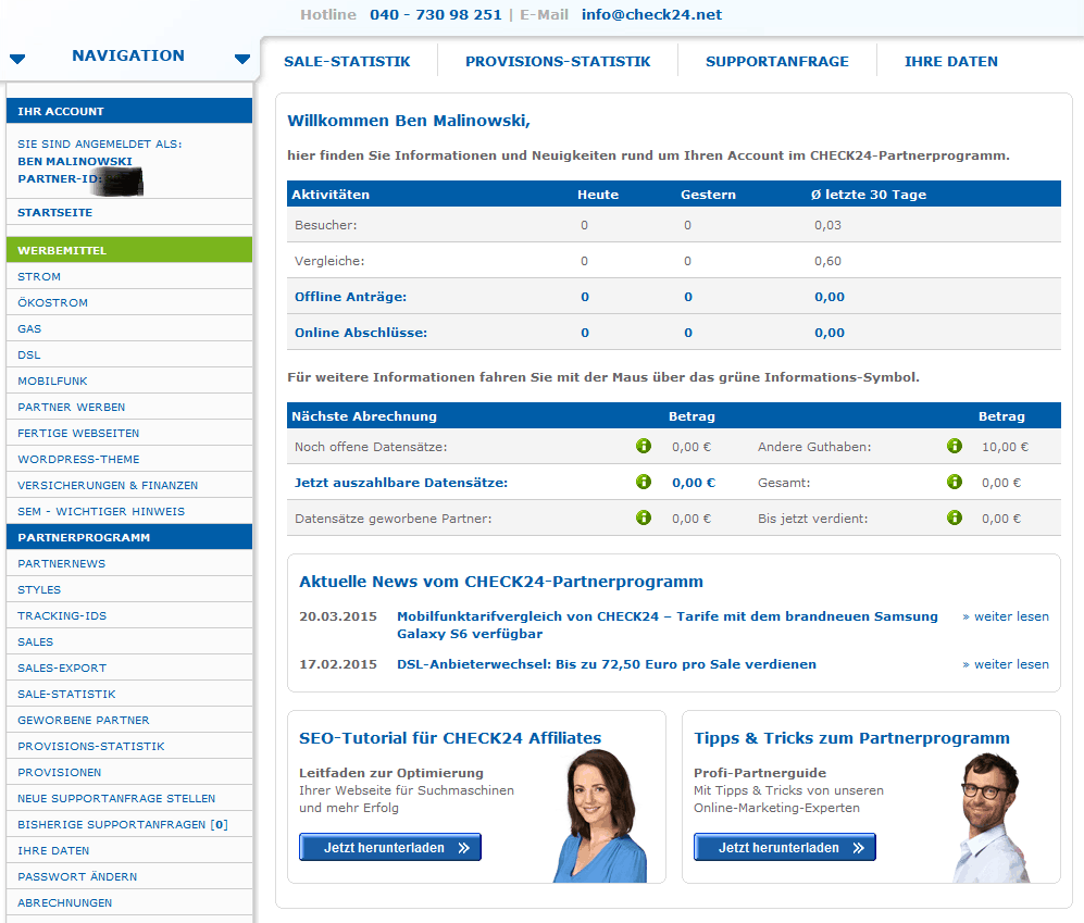 Partnerprogramm Check24