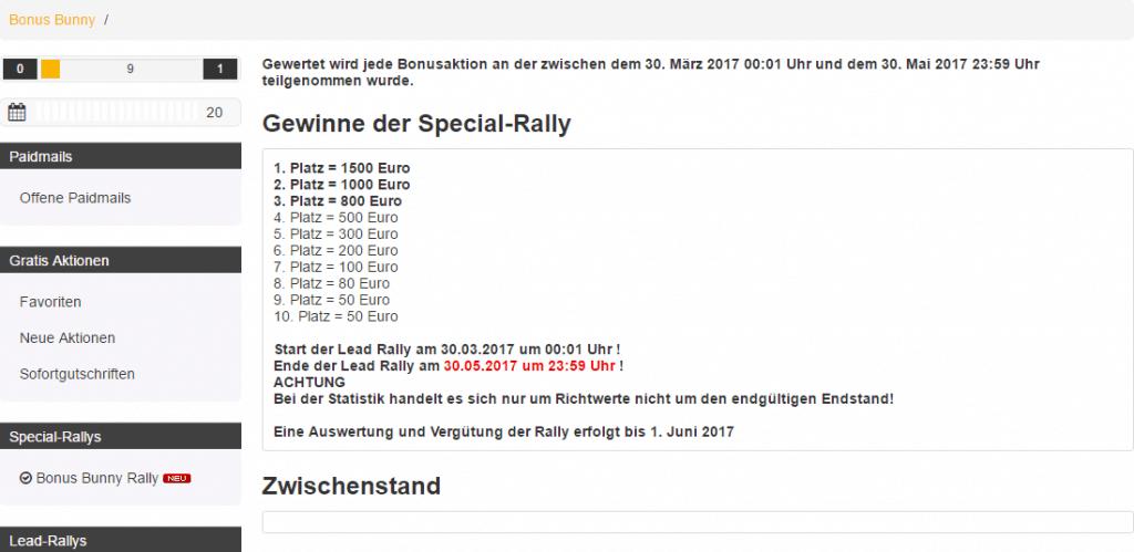 Platzierungen Special-Rally