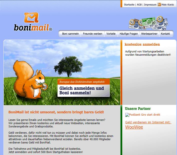 Bonimail am Ende